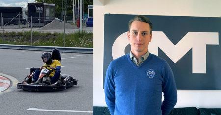 Björn Klaesson porträtt och kör gokart
